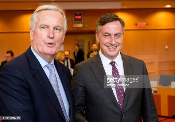 European Commission's Head of Task Force for Relations with the United Kingdom Michel Barnier is welcome by the President of the UK Coordination...
