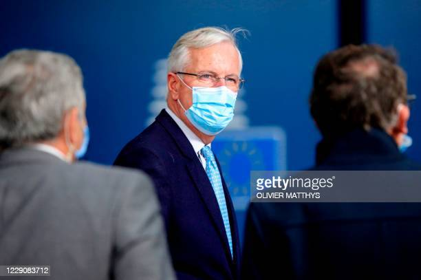 European Commission's Head of Task Force for Relations with the United Kingdom Michel Barnier arrives ahead of a two days European Union summit at...