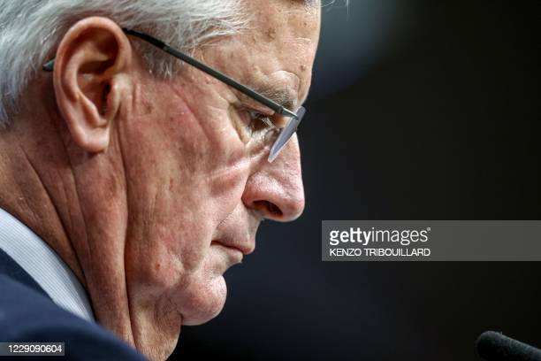European Commission's Head of Task Force for Relations with the United Kingdom Michel Barnier gives a press conference on the first day of the...