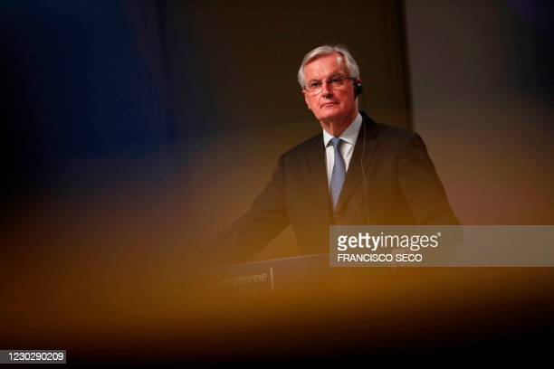 European Commission's Head of Task Force for Relations with the United Kingdom Michel Barnier looks during a media conference on Brexit negotiations...