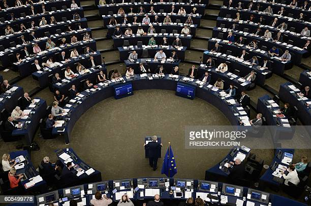 European Commission's President Jean-Claude Juncker delivers a speech as he makes his State of the Union address to the European Parliament in...