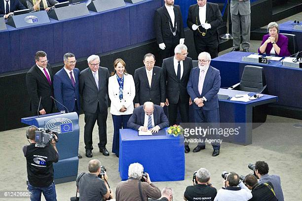 European Commission's President JeanClaude Juncker France's Minister for Ecology Sustainable Development and Energy Segolene Royal UN...