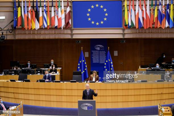 European Commissions UK Task Force Chief Negotiator, Michel Barnier delivers a speech during a session of the European Parliament on December 18,...