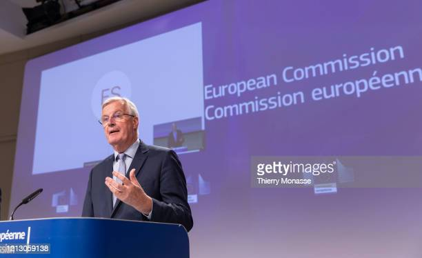 European Commissions UK Task Force Chief Negotiator Michel Barnier talks to media about the third round of talks with the United Kingdom on Brexit on...