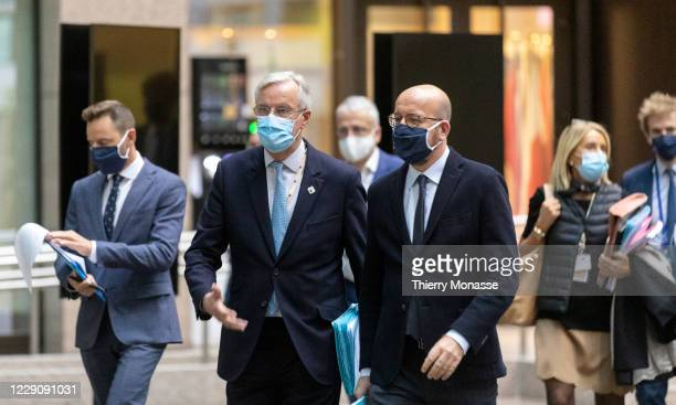 European Commissions UK Task Force Chief Negotiator, Michel Barnier and the President of the European Council Charles Michel walk to a press...