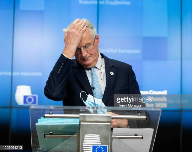 European Commissions UK Task Force Chief Negotiator, Michel Barnier talks to the media during a conference at the end of the first day of an EU...