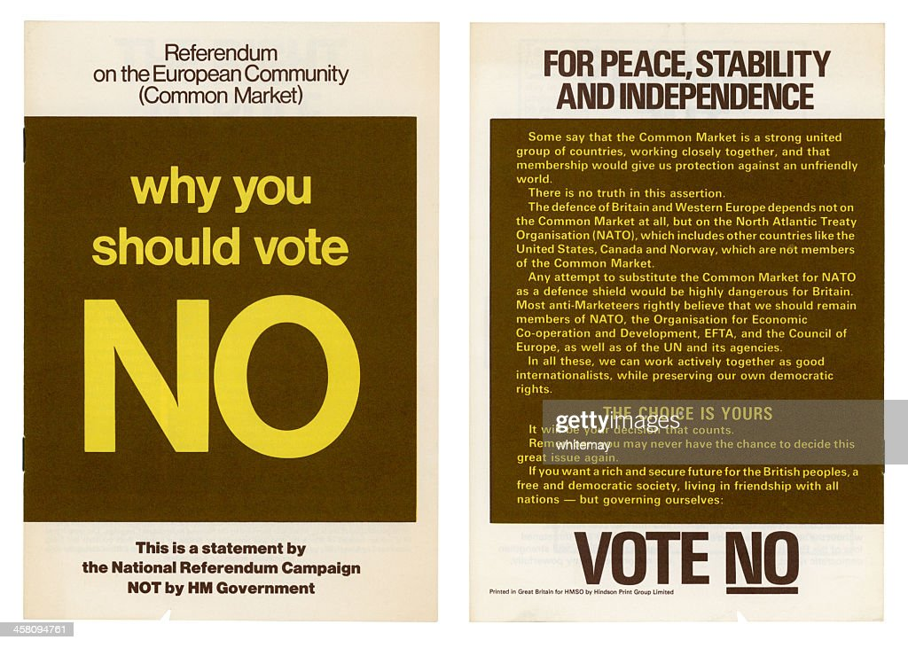 European Community British 'No' vote campaign, 1975 : Stock Photo