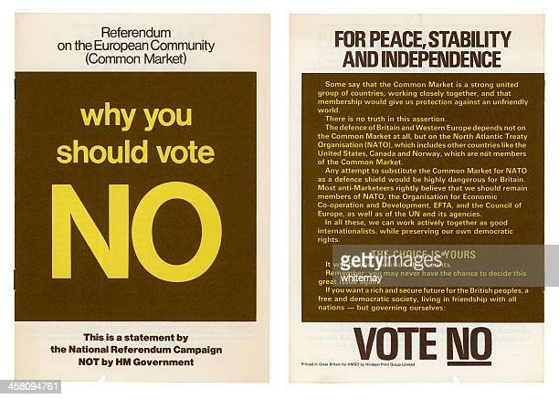european community british 'no' vote campaign, 1975 - flyer leaflet stock photos and pictures