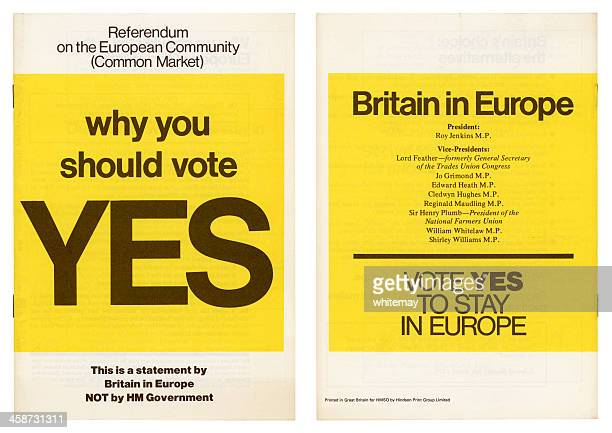 european community british 'yes' vote campaign 1975 - 1975 stock pictures, royalty-free photos & images