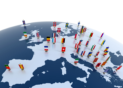 european continent marked with flags 493218065