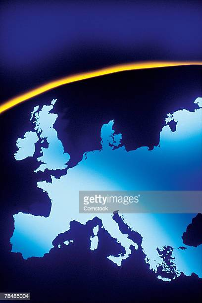 european continent on curved surface - europa kontinent stock-fotos und bilder