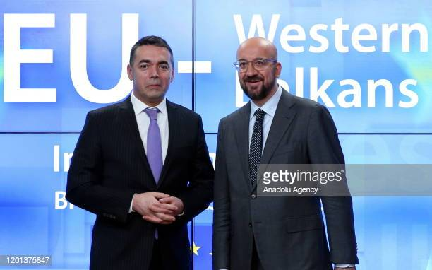 European Council Charles Michel and Minister of Foreign Affairs for North Macedonia, Nikola Dimitrov attend an EU Western Balkans informal meeting at...