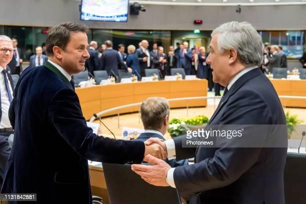 European Council on Brexit Top over de Brexit Sommet UE sur le Brexit * Xavier Bettel / European Parliament President Antonio Tajani pict by Danny...