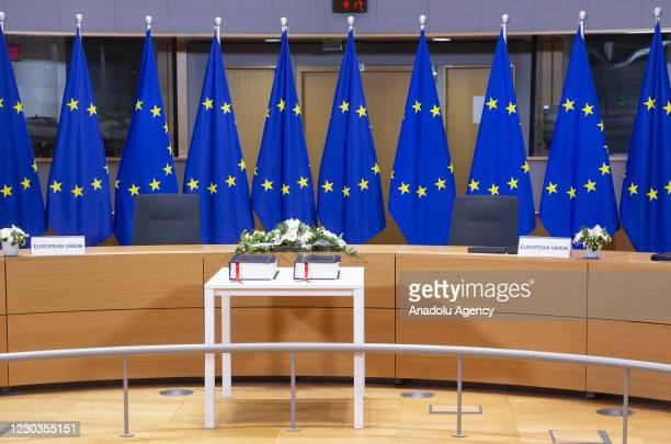 European Council President Charles Michel and European Commission head Ursula von der Leyen sign post-Brexit trade agreement in Brussels, Belgium on...