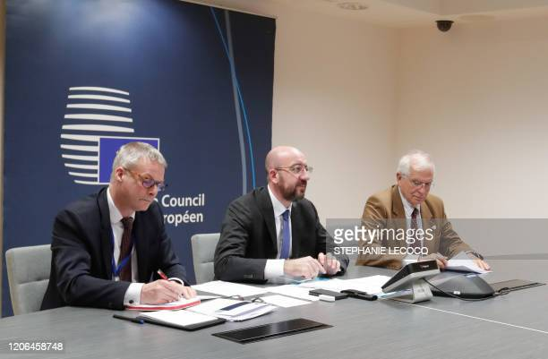 European Council President Charles Michel and he High Representative of the European Union for Foreign Affairs and Security Policy Joseph Borell...