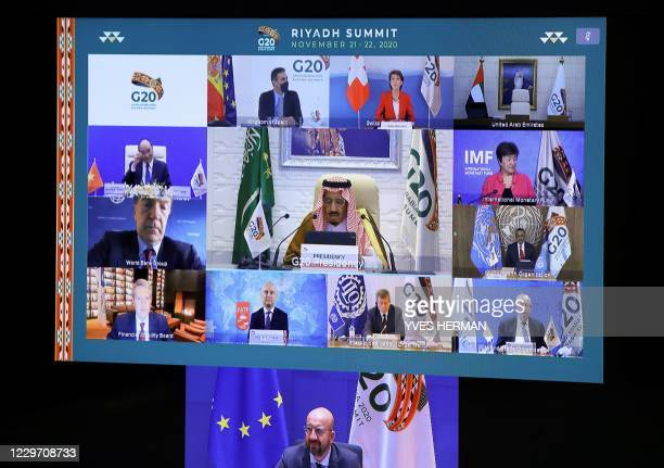 European Council President Charles Michel and Saudi Arabia's King Salman bin Abdulaziz Al Saud are seen with other state and institution leaders on a...