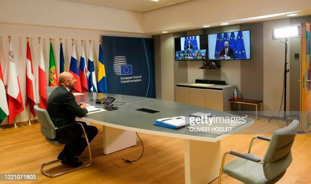 European Council President Charles Michel attends an European summit in video conference format, in Brussels, on June 19, 2020. - The 27 leaders of...