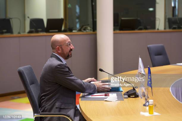 European Council President Charles Michel attends G20 Summit via video conference in Brussels, Belgium on November 21, 2020.