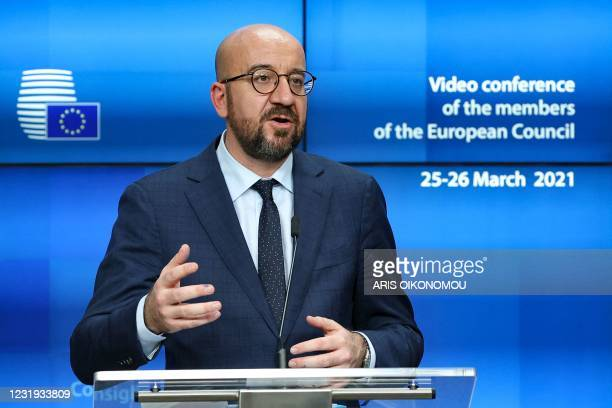 European Council President Charles Michel delivers a joint press conference with the European Commission President at the end of the first day of a...