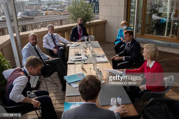 European Council President Charles Michel German Chancellor Angela Merkel French President Emmanuel Macron and European Commission President Ursula...
