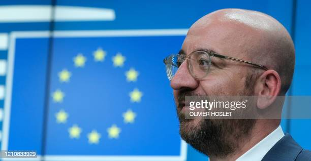 European Council President Charles Michel gives a press conference following a video conference EU summit to discuss the measures to tackle the...