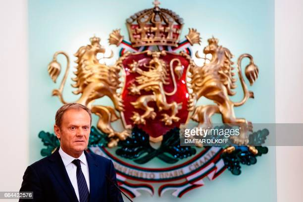 European Council President Donald Tusk addresses a joint press conference with Bulgaria's President after their meeting in Sofia on April 4 2017 /...