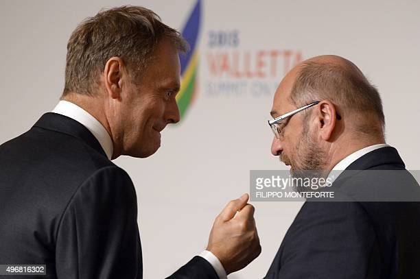 European Council President Donald Tusk and European Parliament President Martin Schulz are pictured before the start of an Informal European Council...