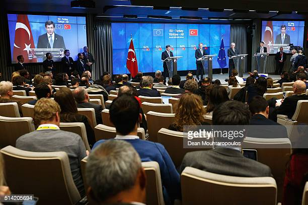 European council president Donald Tusk and Turkish Prime Minister Ahmet Davutoglu and President of the European Commission JeanClaude Juncker speak...