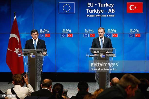 European council president Donald Tusk and Turkish Prime Minister Ahmet Davutoglu speak at the press conference after The European Council Meeting In...