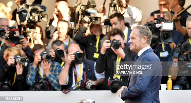 European Council President Donald Tusk arrives at the Mozarteum University to attend a plenary session part of the EU Informal Summit of Heads of...