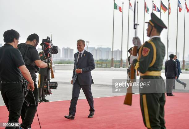 European Council President Donald Tusk arrives for the G20 Summit at the International Expo Center in Hangzhou on September 4, 2016. G20 leaders...