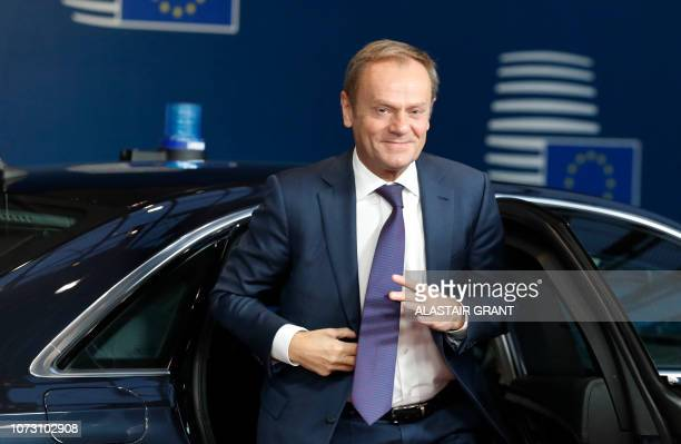 European Council President Donald Tusk arrives on December 14 2018 in Brussels during the second day of a European Summit aimed at discussing the...