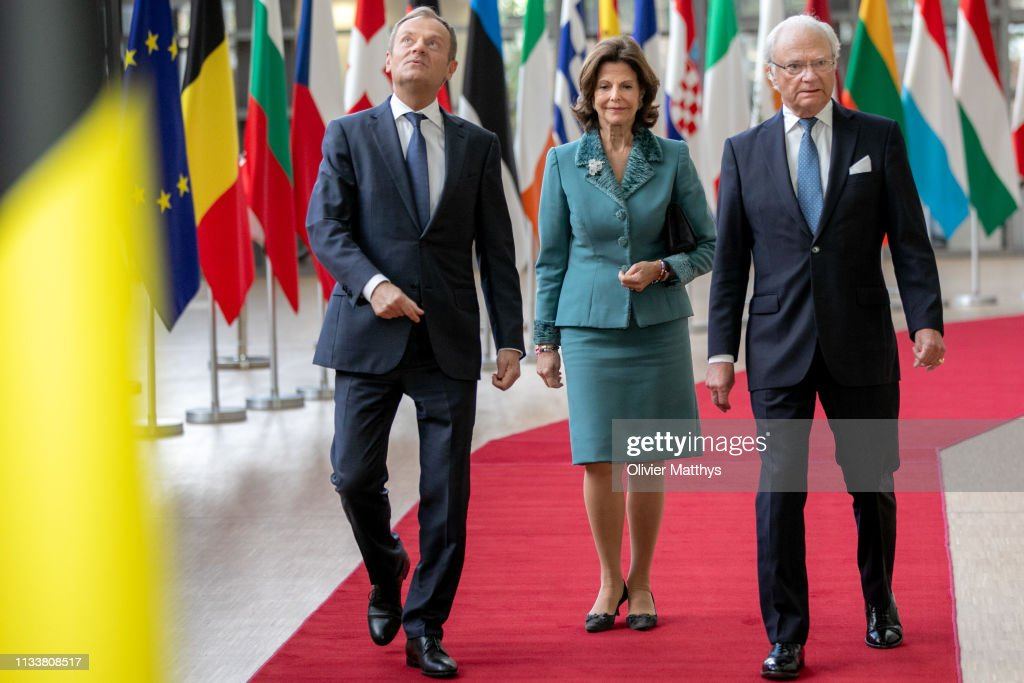 King Carl Gustav Of Sweden And Queen Silvia Of Sweden On Official Visit In Brussels : News Photo