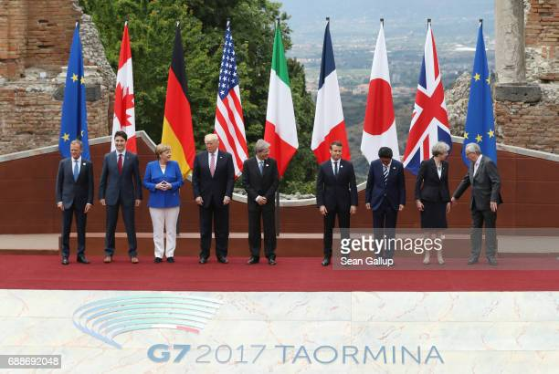 European Council President Donald Tusk Canadian Prime Minister Justin Trudeau German Chancellor Angela Merkel US President Donald Trump Italian Prime...