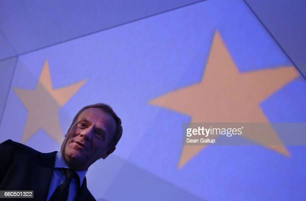 European Council President Donald Tusk departs at the conclusion of the European People's Party Congress on March 30 2017 in San Giljan Malta The EPP...