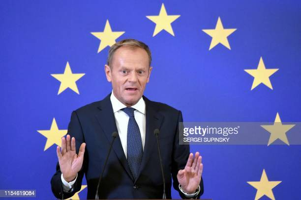 European Council President Donald Tusk gastures as he speaks during a press conference on the outcome of the UkraineEU summit in Kiev on July 8 2019