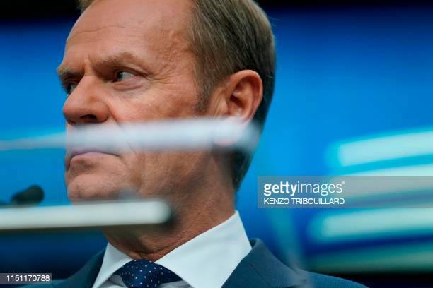 European Council President Donald Tusk gives a press conference at the end of an EU summit at the Europa building in Brussels on June 21 2019...