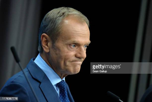European Council President Donald Tusk gives statements to the media as EU member states agreed on the agreement during the summit of European Union...