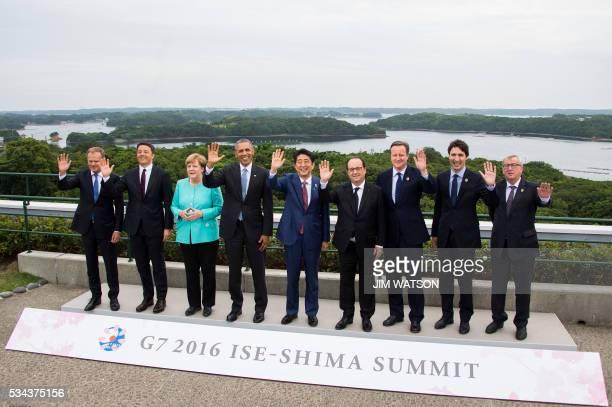 TOPSHOT European Council President Donald Tusk Italian Prime Minister Matteo Renzi German Chancellor Angela Merkel US President Barack Obama Japanese...