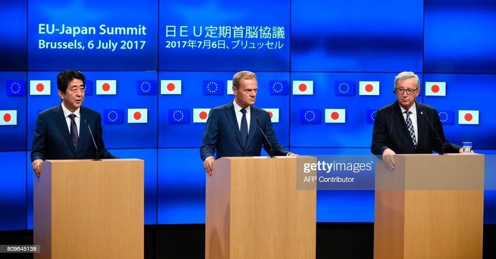 BELGIUM-EU-JAPAN-DIPLOMACY : News Photo