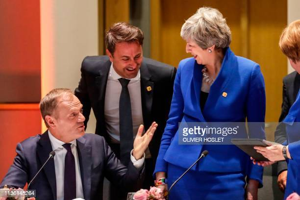 European Council President Donald Tusk Luxembourg's Prime minister Xavier Bettel Britain's Prime minister Theresa May Germany's Chancellor Angela...