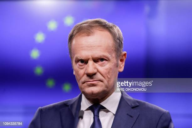 TOPSHOT European Council President Donald Tusk makes a statement with Ireland's prime minister following a meeting on February 6 at the European...
