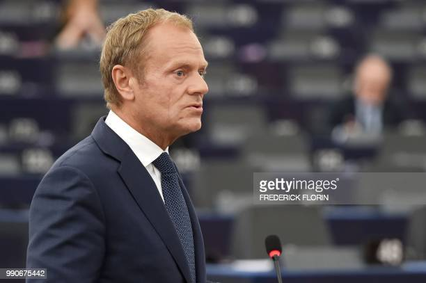 European Council President Donald Tusk speaks at a debate on the outcome of the 2829 June European Union summit during a plenary session at the...