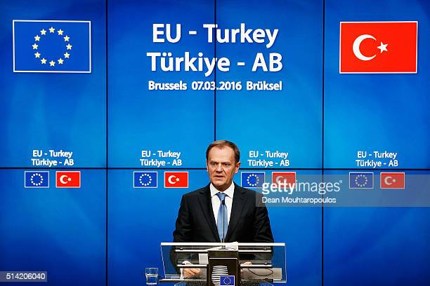 European council president Donald Tusk speaks at the press conference after The European Council Meeting In Brussels held at the Justus Lipsius...