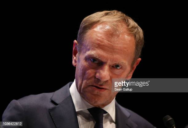 European Council President Donald Tusk speaks to the media at the conclusion of the summit of leaders of the European Union on September 20 2018 in...