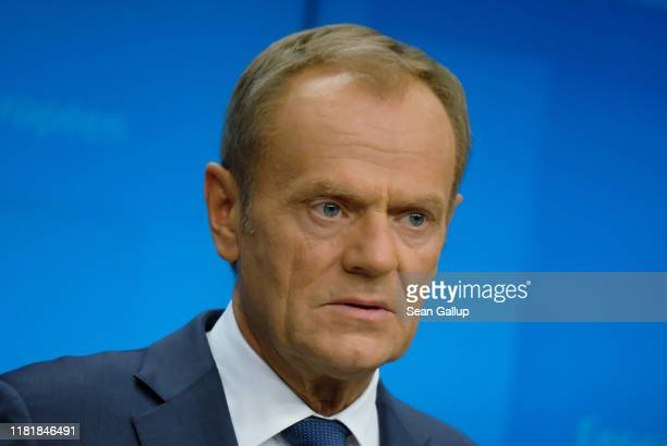 European Council President Donald Tusk speaks to the media at the conclusion of a two-day summit of European Union leaders on October 18, 2019 in...