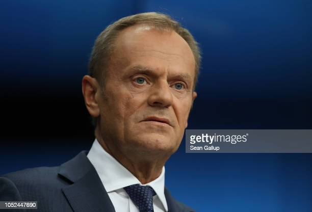 European Council President Donald Tusk speaks to the media following the October EU summit on October 18, 2018 in Brussels, Belgium. British Prime...