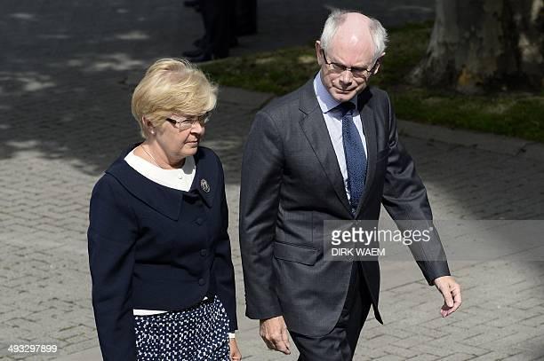 European Council President Herman Van Rompuy and his wife Geertrui Van RompuyWindels arrive to attend the funeral ceremony of late former Belgian...