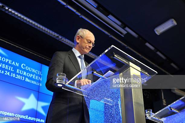 European Council President Herman Van Rompuy arrives at a joint press conference on October 25 2013 in Brussels European Union heads of state and...
