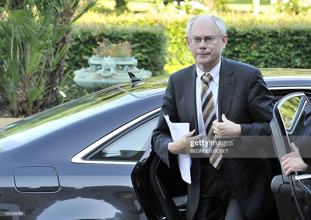 European Council president Herman Van Rompuy arrives for a statutory Summit of the European People's Party (EPP), on June 16, 2010 in Meise, near Brussels, on the eve of an European Council gathering EU's heads of state. During the one-day meeting, EU leaders are expected to adopt 'Europe 2020', the new strategy for jobs and growth, and will also discuss the forthcoming G 20 summit, economic governance and post-Copenhagen climate strategy.